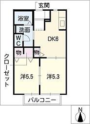 ベルメゾンIII[1階]の間取り
