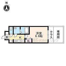 プレサンス京都二条京華 101 1階1Kの間取り