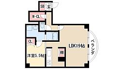 SMY88植田 6階1LDKの間取り