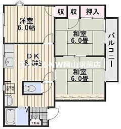 岡山県岡山市中区八幡丁目なしの賃貸アパートの間取り