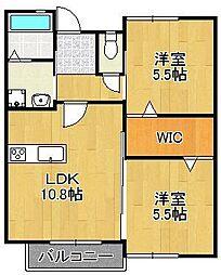 マキハウスII 2階2LDKの間取り