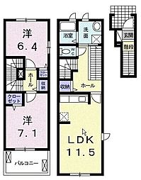 埼玉県さいたま市南区松本2丁目の賃貸アパートの間取り