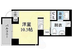 JPレジデンス京橋EAST 4階ワンルームの間取り