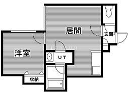 JUNJUNハウス南郷 2階1LDKの間取り