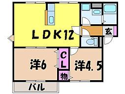 愛媛県松山市山越5丁目の賃貸アパートの間取り