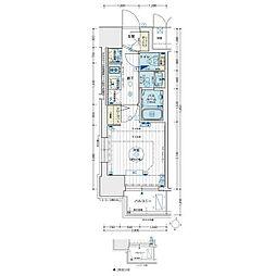 エステムコート名古屋新栄アクシス 6階1Kの間取り