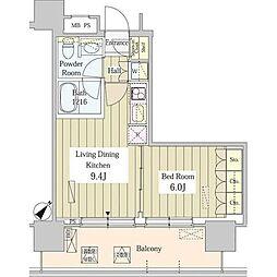 ユニゾンタワー 18階1DKの間取り