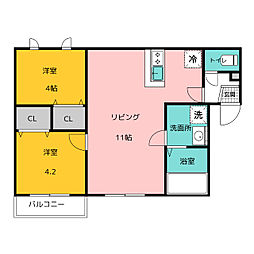 博多小町III 3階2LDKの間取り