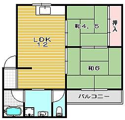 コーポ西田[202号室]の間取り