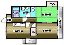 大阪府和泉市府中町7丁目の賃貸マンションの間取り