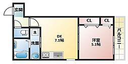大阪府大阪市平野区喜連西6丁目の賃貸アパートの間取り