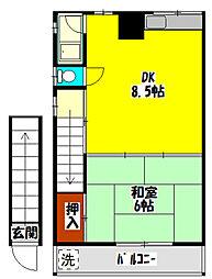 京阪本線 西三荘駅 徒歩20分の賃貸アパート 2階1DKの間取り