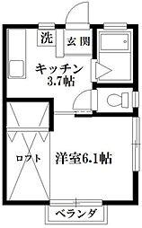 ロワール八幡A[203号室]の間取り