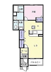 東京都八王子市中野上町5丁目の賃貸アパートの間取り
