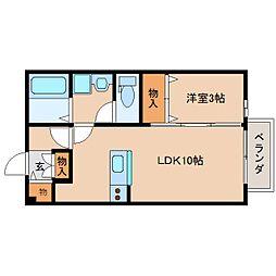 奈良県奈良市青野町の賃貸アパートの間取り