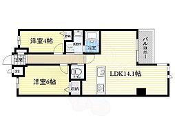 北大阪急行電鉄 緑地公園駅 徒歩13分の賃貸マンション 4階2LDKの間取り