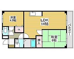 ブルーム北花田[1階]の間取り