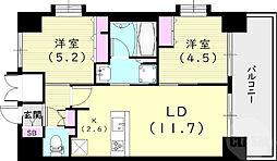 スプランディッド尼崎駅前I 2階2LDKの間取り
