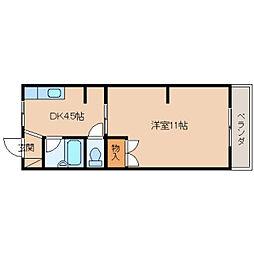 奈良県生駒市西旭ケ丘の賃貸マンションの間取り