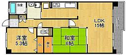 兵庫県宝塚市中筋山手7丁目の賃貸マンションの間取り