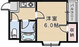 フレール西田辺[5階]の間取り