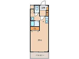 クレストモナーク 2階ワンルームの間取り