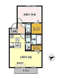 Chambre 太平寺 (シャンブル太平寺) 1階1LDKの間取り