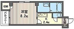 キクヤビルディング 7階1Kの間取り