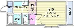 仙台市地下鉄東西線 八木山動物公園駅 徒歩14分の賃貸アパート 1階ワンルームの間取り