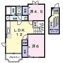 滋賀県蒲生郡日野町河原2丁目の賃貸アパートの間取り