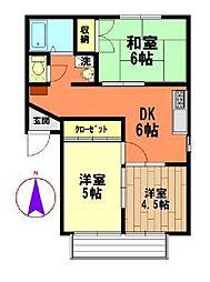 埼玉県熊谷市戸出の賃貸マンションの間取り