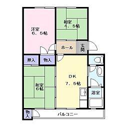 奈良県大和郡山市野垣内町の賃貸マンションの間取り
