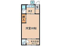 京都府宇治市菟道谷下りの賃貸アパートの間取り