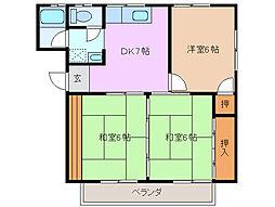三重県四日市市大宮町の賃貸アパートの間取り