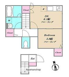 JR山手線 駒込駅 徒歩6分の賃貸アパート 2階1DKの間取り