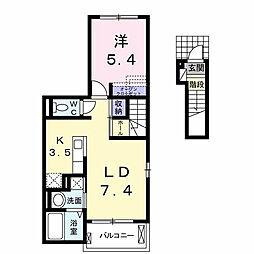 東合川6丁目アパート 2階1LDKの間取り