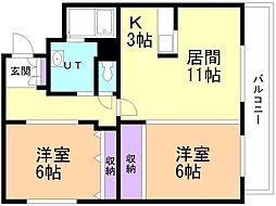 フィルマメント前田 2階2LDKの間取り