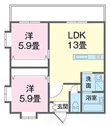 美らハウス 3階2LDKの間取り