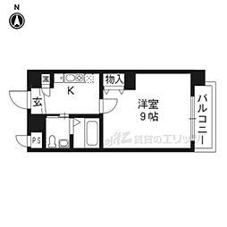 京都地下鉄東西線 京都市役所前駅 徒歩4分の賃貸マンション 4階1Kの間取り