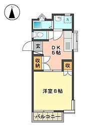 愛知県名古屋市名東区山香町の賃貸アパートの間取り