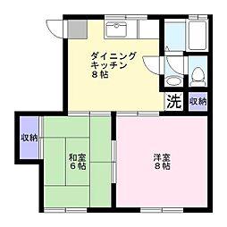 安田ハイムE[2階]の間取り