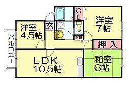 ウィンディア須惠A[2階]の間取り