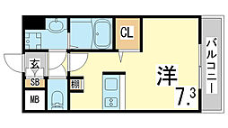 JR東海道・山陽本線 新長田駅 徒歩3分の賃貸マンション 2階ワンルームの間取り