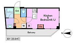 メゾン ソレイユ 3階ワンルームの間取り