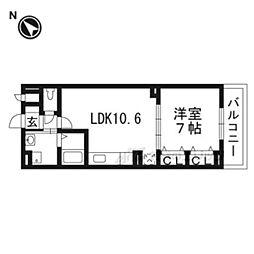 JR東海道・山陽本線 西大路駅 徒歩25分の賃貸アパート 3階1LDKの間取り