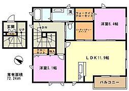 埼玉県川口市赤井3丁目の賃貸アパートの間取り