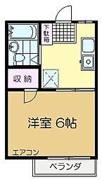 センチュリー平賀2番館 1階1DKの間取り