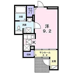 愛知県名古屋市緑区鶴が沢1丁目の賃貸アパートの間取り