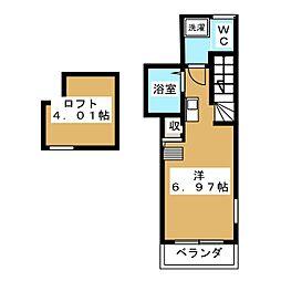 calm平井II 2階1Kの間取り