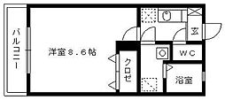 JR鹿児島本線 荒木駅 4.1kmの賃貸アパート 1階1Kの間取り